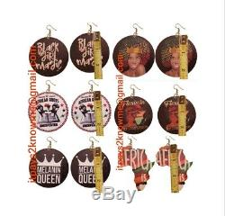 BULK African American Black woman wooden earrings 50 PAIR