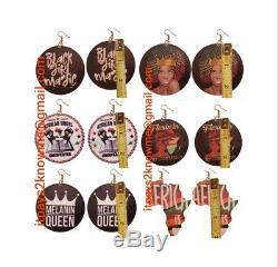 BULK WHOLESALE business African American Black earrings 100 PAIR