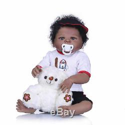 Bathable Full Body Silicone Reborn Baby Dolls Black Boys African American 23inch