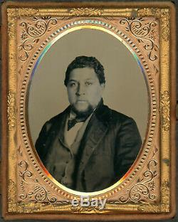 Black African American Man Ambrotype Circa 1860 In Critchlow Daguerreotpye Case
