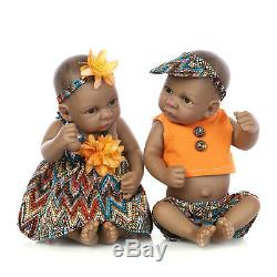 Black Twin Dolls Reborn Baby Doll Alive Realistic African American Doll +Clothes