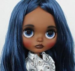 Custom Art OOAK TBL Factory Fake African American Black Blue Hair AA Blythe Doll