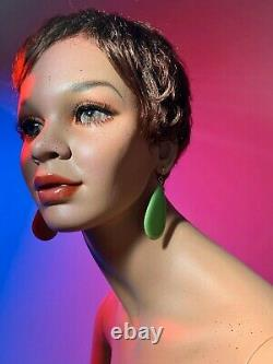 DECTER Vintage 60s Realistic Full Female Mannequin Sitting Black Ethnic Freckles