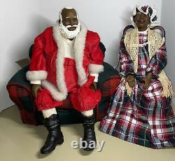Daddy's Long Legs Dolls 95 BLACK SANTA & Mrs ODESSA CLAUS & Overstuffed Chair