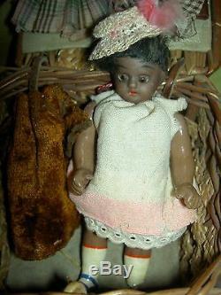 Darling, Simon Halbig 1078 antique BLACK bisque doll, Nubian boy, orig. Costume