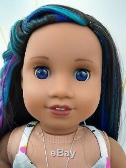 Dot Custom American Girl Doll OOAK Blue Eyes Sonali Blue Purple Pink Hair