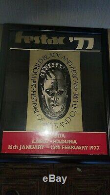 FESTAC'77 2ND WORLD BLACK & AFRICAN ART FESTIVAL POSTER -NIGERIA 15x20 framed