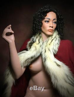 GRENEKER Mannequin Plus Size African Black Female Full Realistic Glass Eyes Vtg