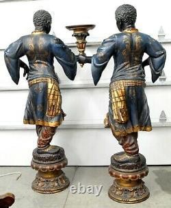 Great Pair Of 6 Foot Tall Blackamoor African American Statues / Sculptures