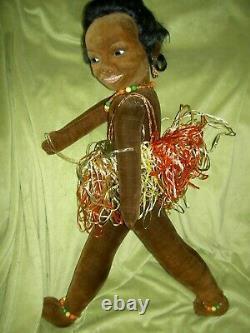 HUGE 35, labeled Norah Wellings Black Islander Boudoir bed doll glass eyes orig