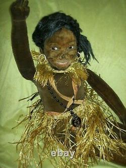 HUGE 35, smiling Norah Wellings Black Islander Boudoir bed doll glass eyes orig