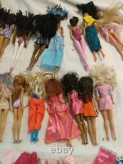 Huge Lot 150+ Vintage to Modern 24 Barbie Dolls Black AA Asian 80s 90s Clothes