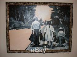 Huge Original African American Painting by Black Folk Artist Dollner
