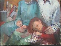 Large African American Painting Portrait Black Americana Collection Vintage Mod
