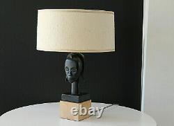 Mid Century 1950's Brach-Allen Studio Modernist African Bust Table Lamp