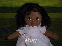 My Child girl doll AA brown eyes black hair pink dress vintage Mattel 14