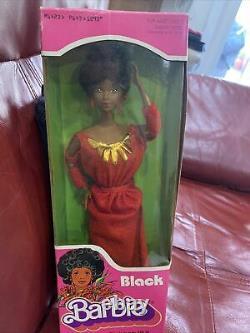 NRFB VINTAGE 1979 FIRST Black Barbie Doll Disco Afro Red Dress Mattel 1293