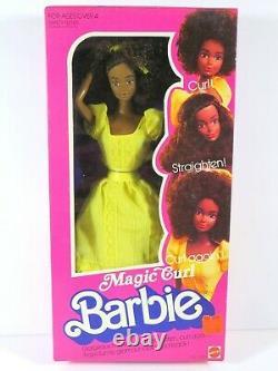 Nib Barbie Doll 1981 Magic Curl Black Aa Vintage Rare! 3989