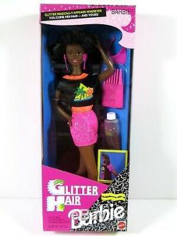 Nib Barbie Doll 1993 Glitter Hair Black African American Rare! 11332 Pink