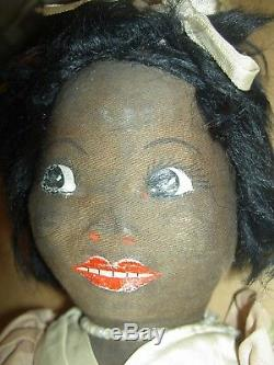 Norah Wellings, Art Deco era BLACK Boudoir bed doll, night-dress/pajama case