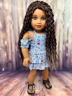 OOAK Custom American Girl Doll Sahara Brown Hair, Blue Eyes
