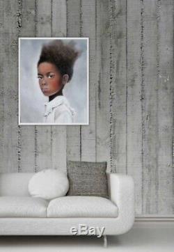 Oil Painting of Beautiful African American Girl portrait figurative original art