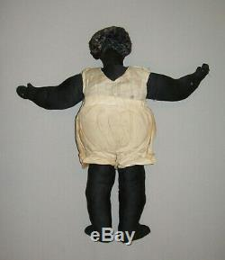 Old Vtg Ca 1930s Folk Art Black Sateen Cloth Rag Doll Antique 18 Tall Wool Hair