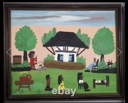 Orig. Clementine Hunter African American Folk Oil Painting Black Grandma Mose