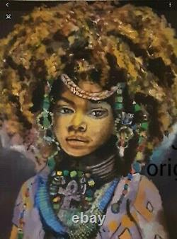 Original African American Painting Oil Pastel Unframed Signed Black Art