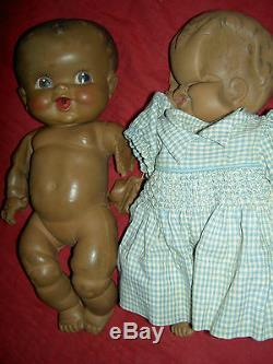 PAIR AMOSANDRA black rubber'Amos & Andy' baby dolls Sun Rubber (for parts TLC)