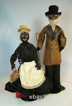 Pr Vintage Walnut Cloth Black Folk Art Primitive Dolls Loveleigh Novelty