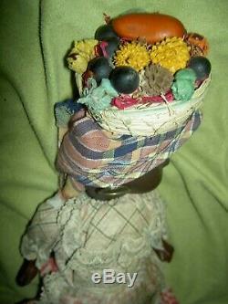 Pretty antique, BROWN bisque jtd. Doll, sleep glass eyes sgnd crown W&C GERMANY