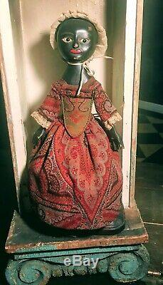 Queen Anne Style Wooden Doll By Alena Sinel-Rare Black PeriodClothes OOAK