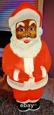 RARE African American Black Santa Christmas Don Featherstone Union Blow Mold 40