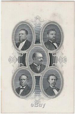 RARE Engraved portrait Black African-American Reconstruction Congress print 1883