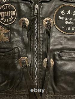 Rare 1980s Mc Club Vest Hawks Illinois African American Biker Outlaw Patch Black