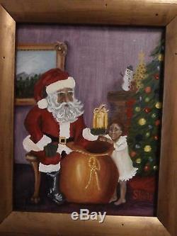 Rare Original Folk Art Black Santa African American Child Christmas Interior