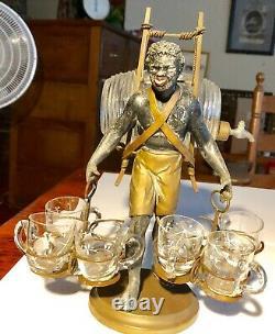 Rare Vintage African American Black Collectible Figurine Liquor Keg & Glasses