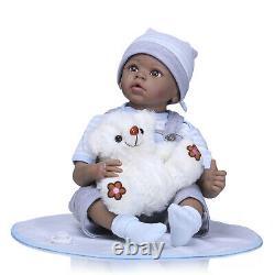 Real Life Baby Black Reborn Doll Twin Boy&Girl Reborn Toddler Twins Dolls 22inch