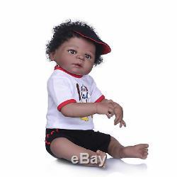 Realistic Black Reborn Toddler 23 Full Body Silicone Bebe Reborn Baby Boy Dolls