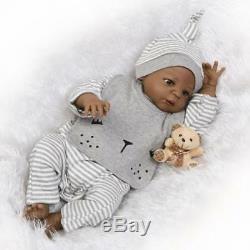 Reborn Baby Dolls Full Body Silicone Vinyl Realistic Baby Dolls Black Bath Boys