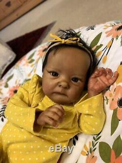 Reborn Baby Girl Doll Tink preemie African American Black Bonnie Brown