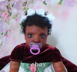 Reborn baby BIG girl doll ROWAN ethnic AA BLACK BIRACIAL ready to ship