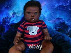 Reborn baby big boy doll Fei Yen AA Black awake boy doll Ready to ship