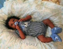 Reborn baby boy doll ethnic biracial AA Black awake boy doll Ready to ship OOAK