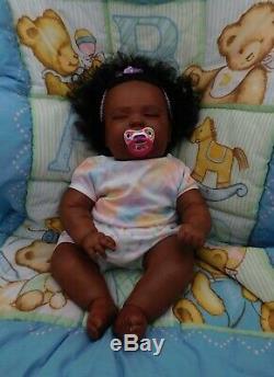 Reborn baby girl doll 3 mo Joseph Newborn sleeping big ethnic AA black Realborn