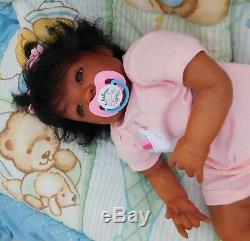 Reborn baby girl doll Newborn ethnic AA biracial black ready to ship