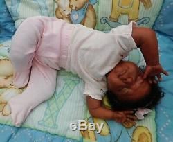 Reborn baby girl doll sleeping Newborn ethnic AA biracial black ready to ship