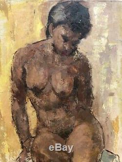 Seated Black/African-American Female Nude Oil Painting-24x20-1950s-Armando Sozio
