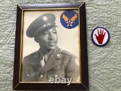 US WW 2 Air Corps Black soldier African American soldier tunic cap picture group